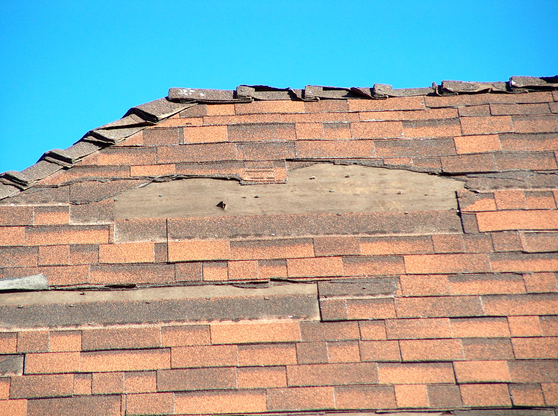 damaged asphalt shingles