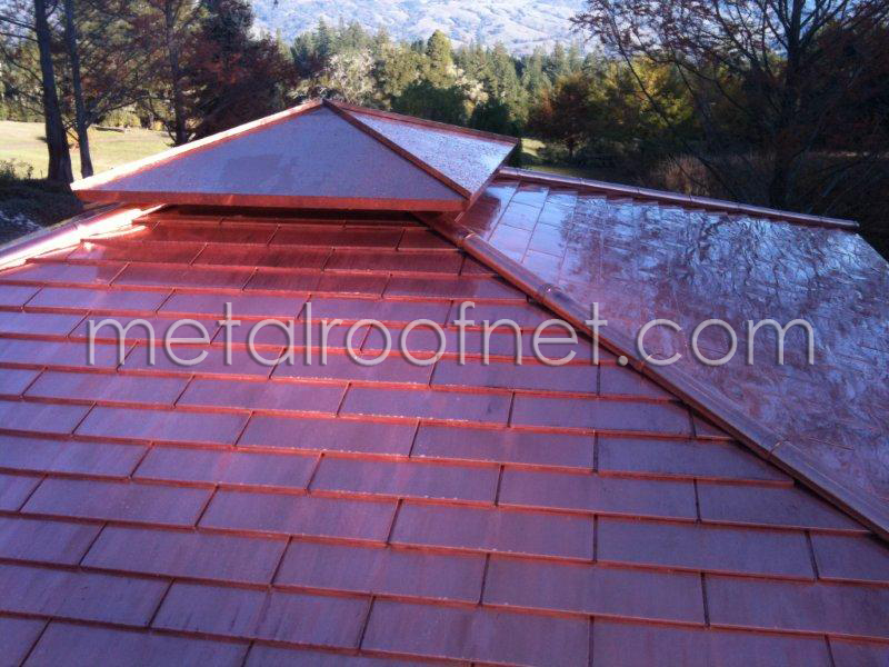 Copper Shingles On A Tea House In California Wine Country